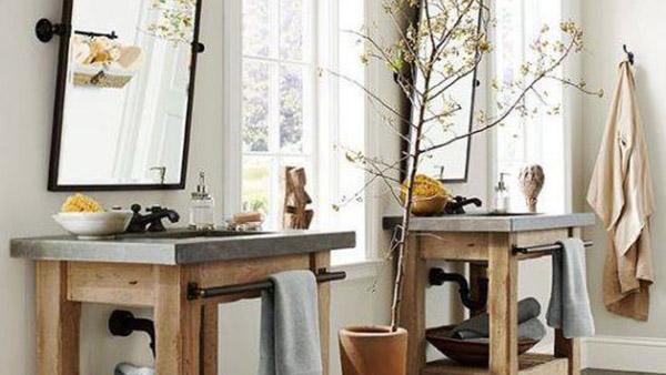10 Χαλαρωτικά σχέδια μπάνιου με ξύλινες λεπτομέρειες